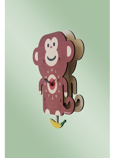 Peoples Clock Muzcu Maymun Sallanan Sarkaçlı Çocuk Odası Duvar Saati Renkli